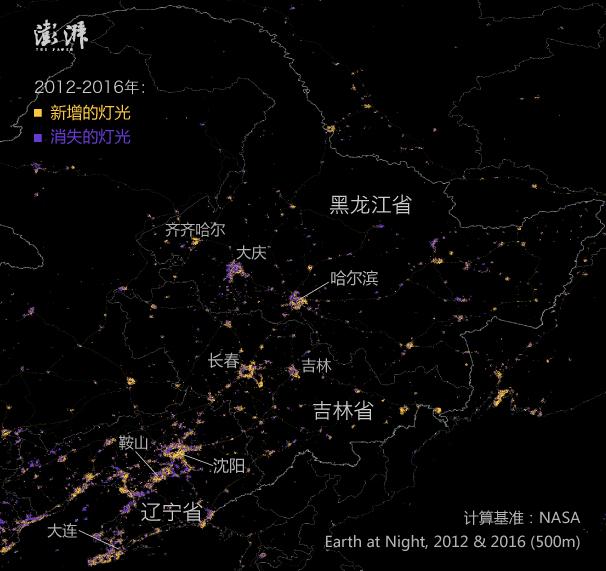 三大城市圈的灯光变化: