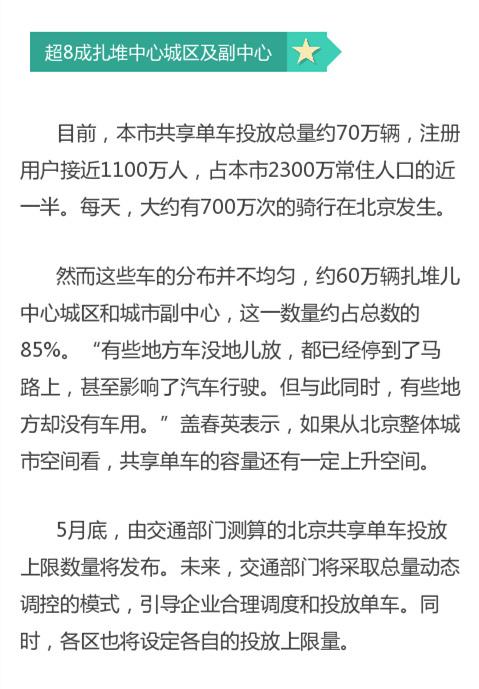 北京共享单车投放上限下月发布