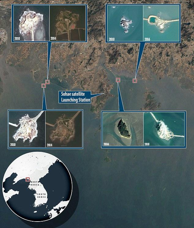 原标题:最新卫星图像:朝鲜在黄海修建5个人工岛 用途不明