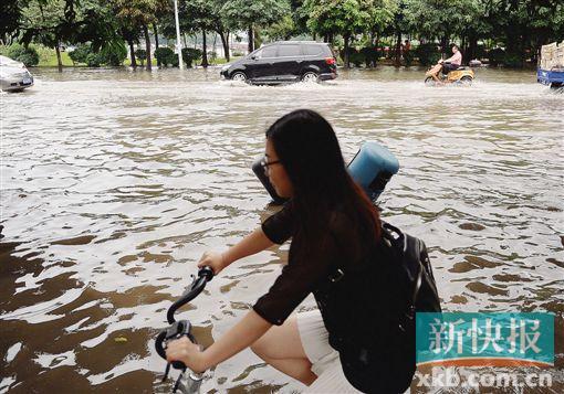 暴雨过后,白云区金沙洲彩滨北路段水淹严重,行人骑车小心而走。