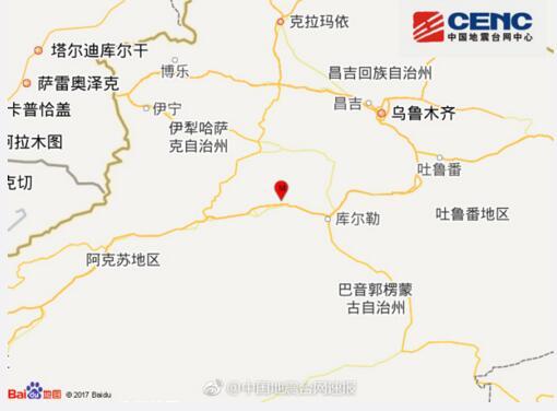新疆巴音郭楞州轮台县发生3.1级地震 震源深度24千米