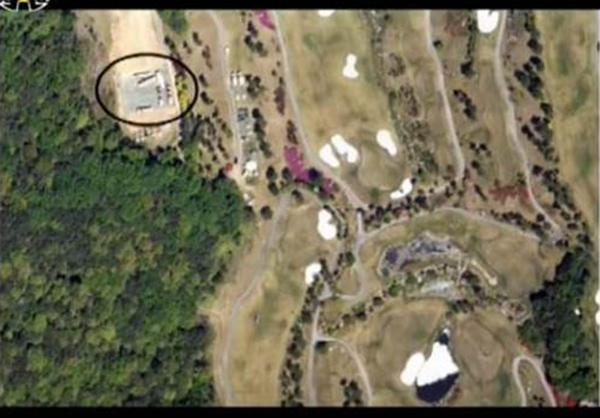 朝鲜中央电视台在节目上表示,萨德发射车位于高尔夫球场的北侧。