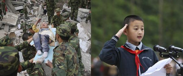 左:2008年5月13日,四川北川,从废墟中被营救的3岁儿童郎铮。小男孩向解放军叔叔敬礼表示感谢。 视觉中国 资料图