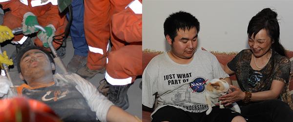 左:2008年5月15日,四川绵竹汉旺东汽中学的救援现场,薛枭被救援人员抬出废墟。 视觉中国 资料图