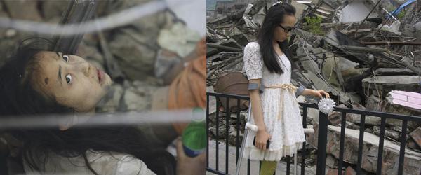 """左:2008年5月14日,北川县曲山小学被困在废墟中的李月向记者喊""""叔叔救我""""。 视觉中国 资料图"""