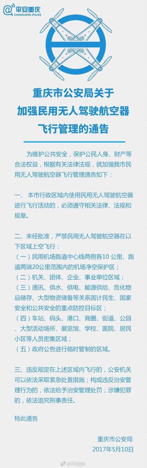 重庆5大区域不许飞无人机