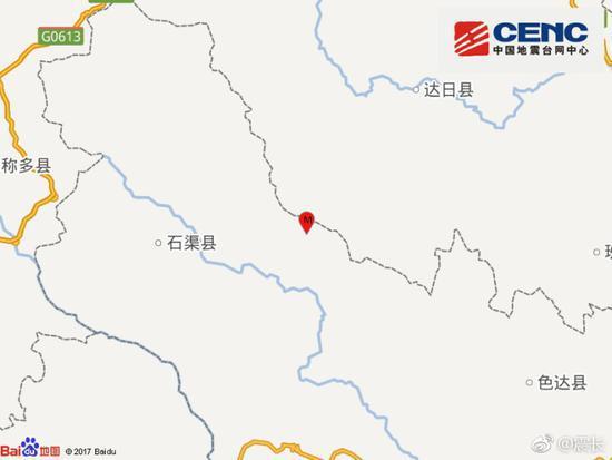 中国地震台网正式测定:05月16日00时20分在四川甘孜州石渠县(北纬33.05度,东经99.00度)发生4.4级地震,震源深度10千米。