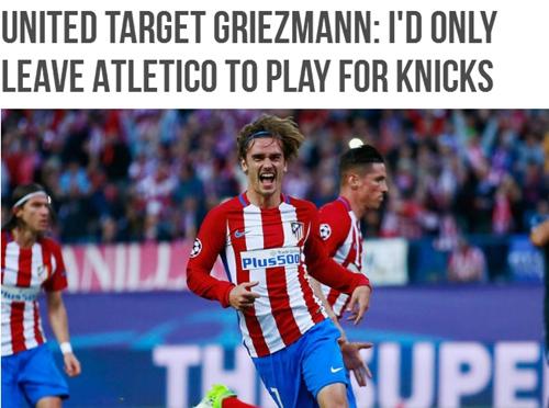 格列兹曼支持尤文赢得欧冠