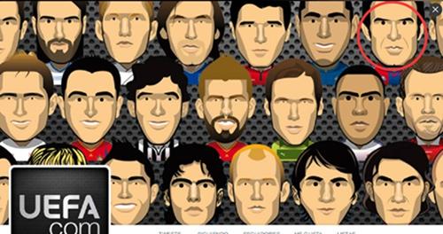 欧足联官推卡通图像惹争议 菲戈竟身披巴萨球衣
