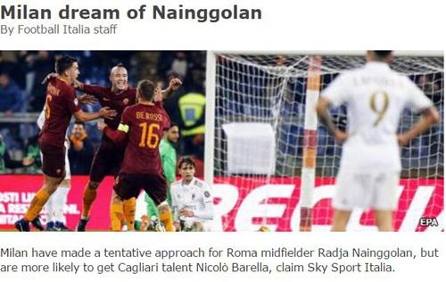 意媒:米兰接触罗马悍腰或挖角敲定R罗巴萨边卫