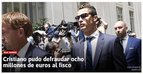 C罗逃税数额达800万欧=梅西2倍 若定罪难获缓刑