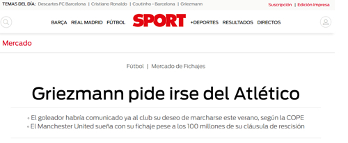 西媒:格列兹曼已提交转会申请曼联恐需掏1亿欧