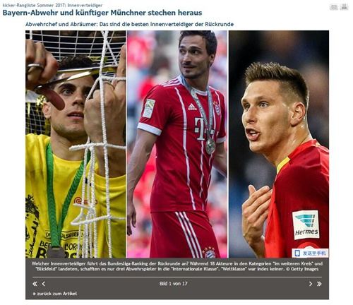 踢球者德甲中卫评级
