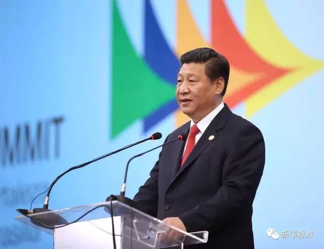 2014年7月15日,国家主席习近平出席在巴西福塔莱萨举行的金砖国家领导人第六次会晤并发表重要讲话。 新华社记者兰红光摄