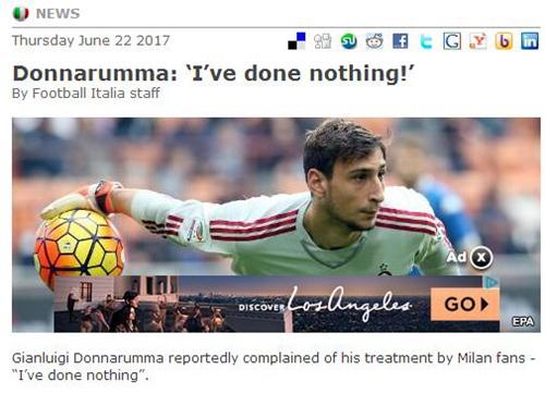 多纳鲁马炮轰米兰球迷:从没说要走 凭啥侮辱我