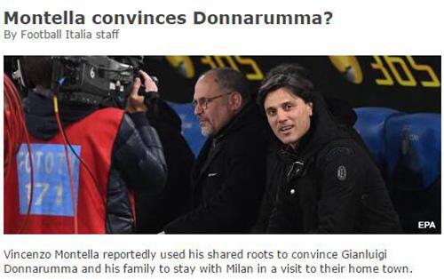 米兰第五签进入倒计时 蒙特拉拜访多纳鲁马父母