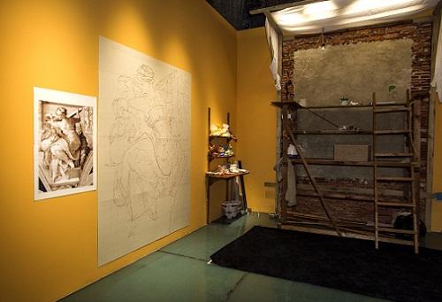 意大利国宝级湿壁画大师安东尼奥.德维托现场作画区域