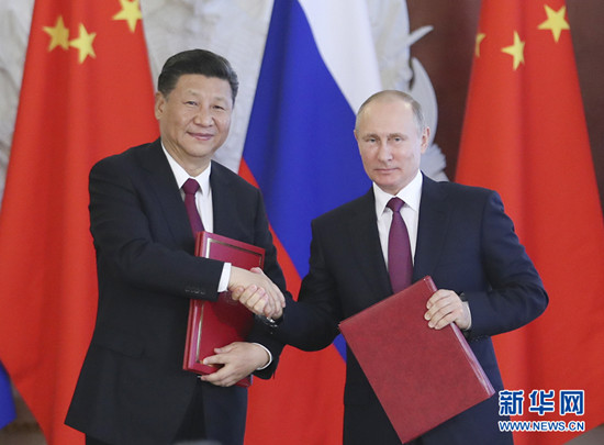 7月4日,国家主席习近平在莫斯科克里姆林宫同俄罗斯总统普京举行会谈。会后,两国元首签署了一系列双边合作文件。新华社记者 谢环驰 摄