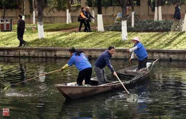 """云南昆明福海街道办新河社区的村级""""河长""""杨枫(前中)和工作人员在流入滇池的船房河上打捞垃圾和杂物(2017年1月6日摄)。""""河长制""""是中国生态文明建设的一个新实践。新华社记者 蔺以光 摄"""