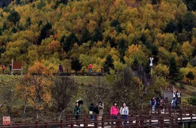 游人在云南香格里拉普达措国家公园游览(2015年10月13日摄)。普达措国家公园试点区总面积为602.1平方公里,原始生态环境保存完好。建立国家公园体制,是生态文明制度建设的重要内容。国家公园实行更严格保护,除不损害生态系统的原住民生活生产设施改造和自然观光科研教育旅游外,禁止其他开发建设,保护自然生态和自然文化遗产原真性、完整性。新华社记者 蔺以光摄