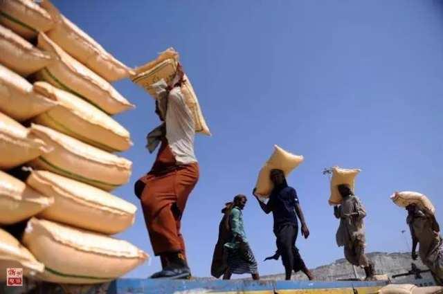 巴基斯坦瓜达尔港码头的货运工人在装运饲料(2015年5月11日摄)。由中国援建的瓜达尔港,是中巴友好的象征,也是中巴经济走廊重要项目。2013年2月,中国海外港口控股有限公司开始接管瓜达尔港的运营。 新华社记者黄宗治摄