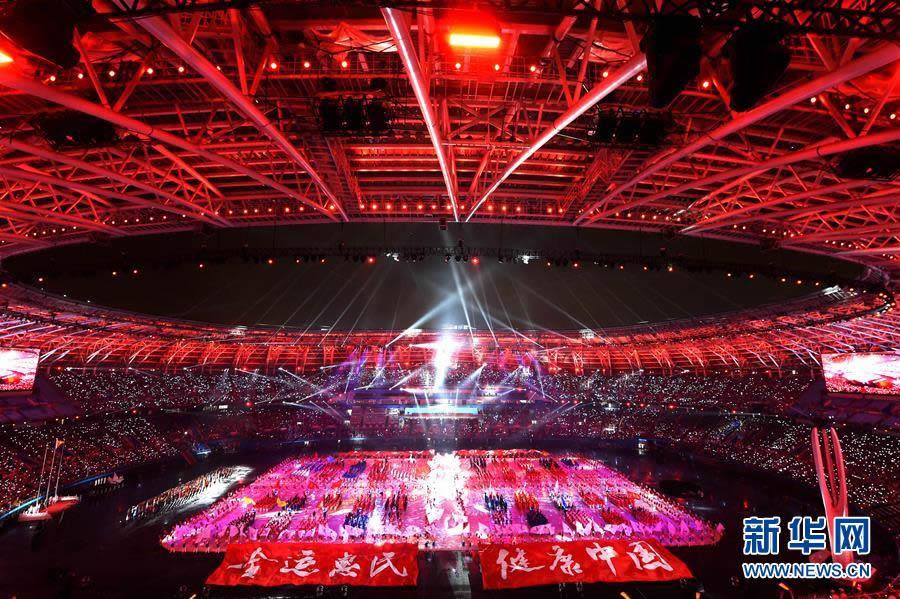 8月27日,第十三届全国运动会开幕式在天津奥林匹克中心体育场举行。 这是开幕式现场。 新华社记者白禹摄