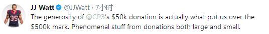 保罗为休城抗灾捐款5万元 NFL球星发推致谢CP3