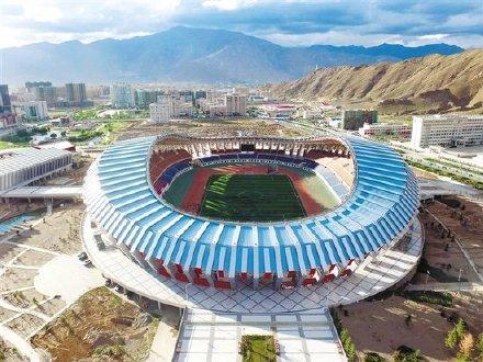 拉萨市文化体育中心位于拉萨市柳梧新区,于2012年4月动工建设,2014年11月竣工,占地387亩,其中体育场可容纳观众20052人。