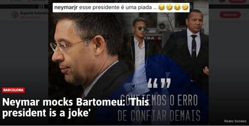 怒了!内马尔强势回击巴萨主席:你就是个笑话