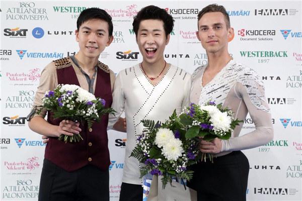 花滑芬兰杯男单自由滑 金博洋夺冠科尔亚达第四