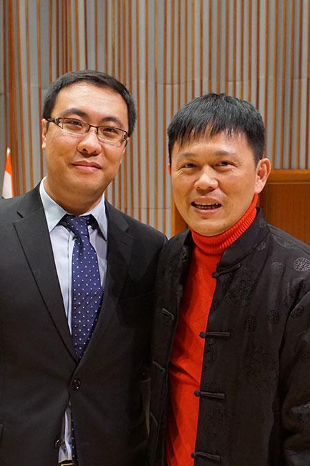 全球精英艺术家协会主席陈宝禄博士与廖明飞老师合影
