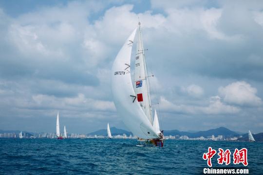 帆船在杨帆航行 克利伯三亚站组委会供图
