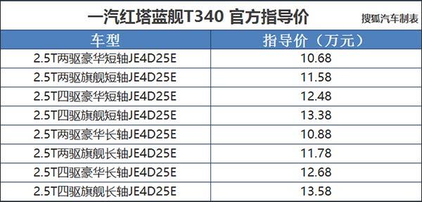 一汽红塔蓝舰T340上市 售10.68-13.58万元