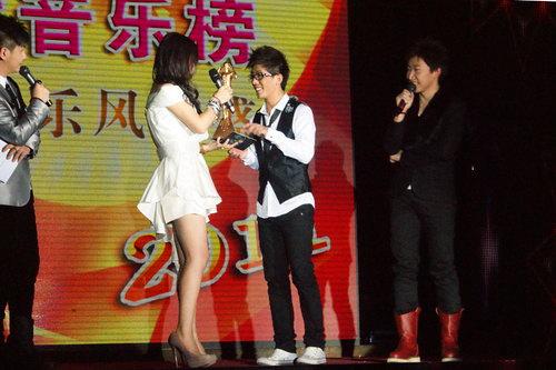 2011年,著名歌手王筝为韩伟颁奖