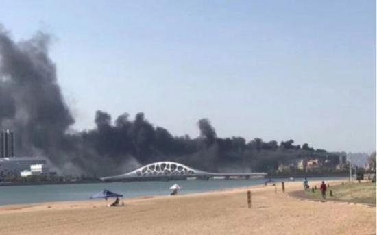 图示为青岛西海岸惠普数据中心火灾现场