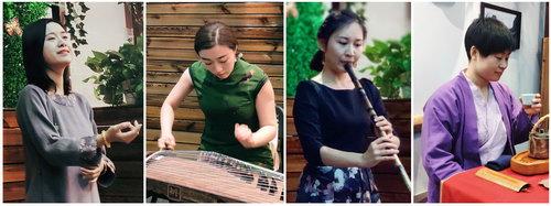 左起:琴歌音乐家何怡,首都师范大学古筝教师崔杨,青年笛箫演奏家李赛妃,开心茶汇陈志敏