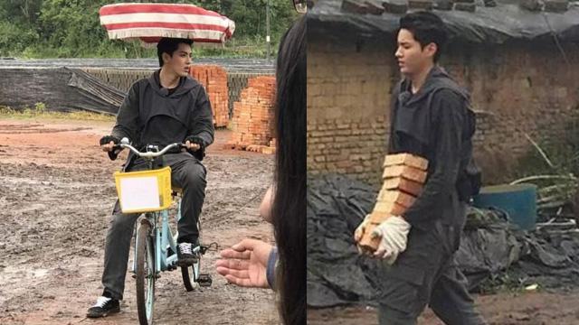 吴亦凡下乡骑三轮照曝光 一口气搬八块砖颜值不减