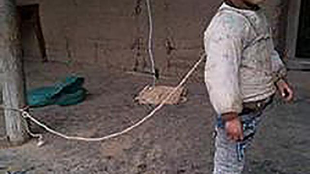 四川6岁智障儿被家人用绳长期拴住 饿了吃泥土