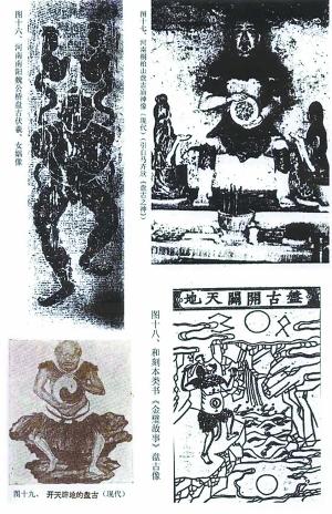 上图是南阳汉墓中出土的汉代画像砖上的盘古。