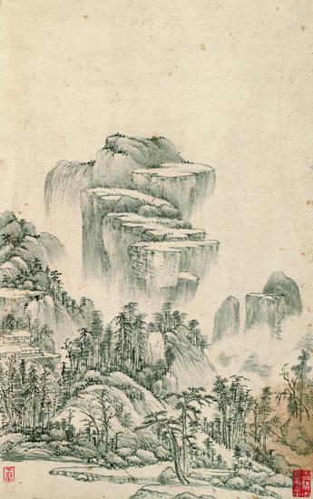 上海博物馆藏王翚《小中现大图册》(二十一开)之第十四开