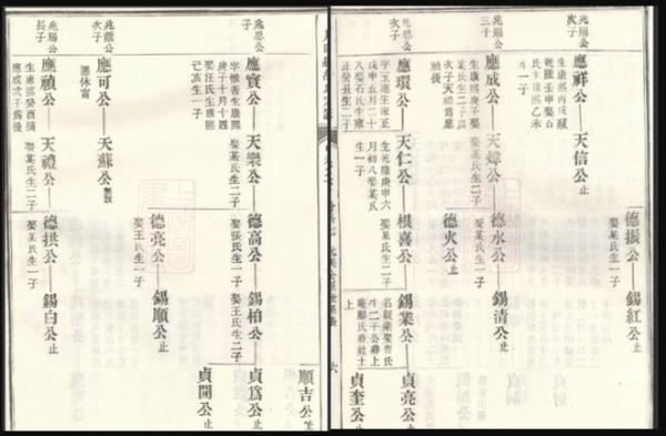 上川明经胡氏世系表扫描图片